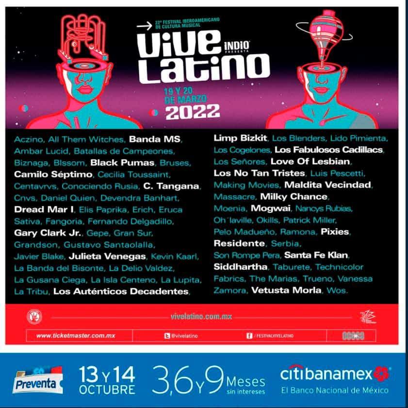 Cartel Vive Latino 2022 que anuncia a Limp Bizkit en el evento